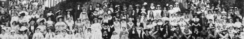 Cast of the Oxford Historical Pageant outside the Infirmary 1907