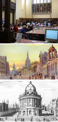 From top to bottom: Oxfordshire History Centre, Oxford High Street 1907, Radcliffe Camera c.1770