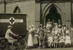 Patients, staff and ambulance at the Wokingham Orthopaedic Clinic in the 1920s